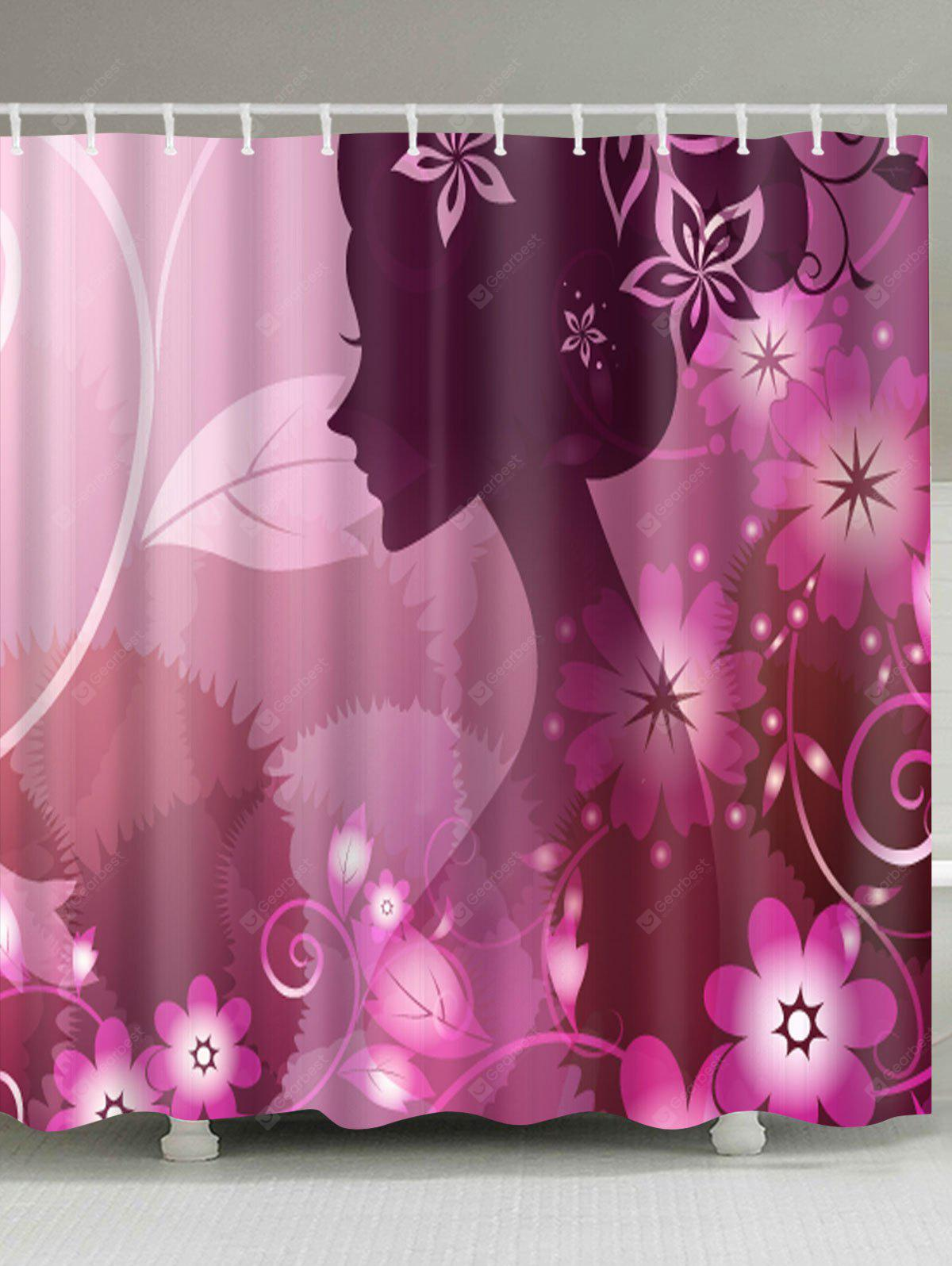 Beautiful Girl Flower Print Waterproof Shower Curtain
