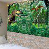 Dinosaurs in Forest Printed Home Decoration Waterproof Hanging Tapestry - GREEN