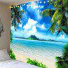 Vacation Island Beach Printed Wall Art Waterproof Hanging Tapestry - BLUE