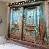 Vintage Wooden Door Printed Wall Hanging Waterproof Tapestry - BLUE