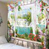 Mountain Waterfall Wooden Bridge Landscape Printed Tapestry - COLORFUL