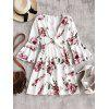 Plunging Neck Bell Sleeve Floral Dress - WHITE