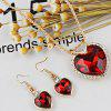 Faux Jewelry Heart Shape Pendant Necklace and Drop Earrings Suit - RED
