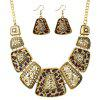 Exaggerated Leopard Vintage Pendant Necklace and Drop Earrings Set - GOLDEN