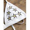 Star Embroidered String Bikini Set - WHITE