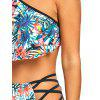 Jungle Flower Print Lattice Side Bikini Set - COLORMIX