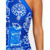 Compass Print Cut Out Tankini Set - BLUE
