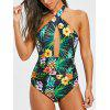 Pineapple Flower Print Cut Out Swimsuit - COLORMIX