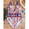 Floral Cross Back One Piece Swimwear - FLORAL
