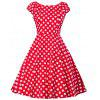 Vintage Polka Dot Party Pin Up Dress - RED