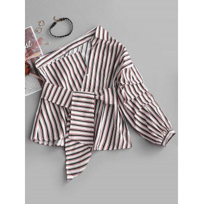 Buy STRIPE L One Shoulder Striped Asymmetrical Belted Blouse for $20.17 in GearBest store