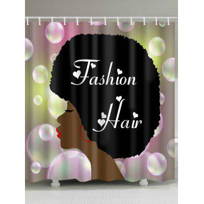 Fashion Hair Girl Bubbles Print Cortina de chuveiro impermeável
