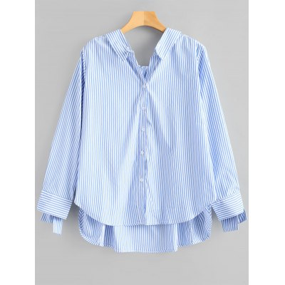 High Low Stripes Tied Sleeve Shirt
