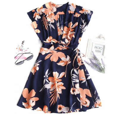 Buy DEEP BLUE M Wrap Floral Tied Mini Dress for $27.88 in GearBest store