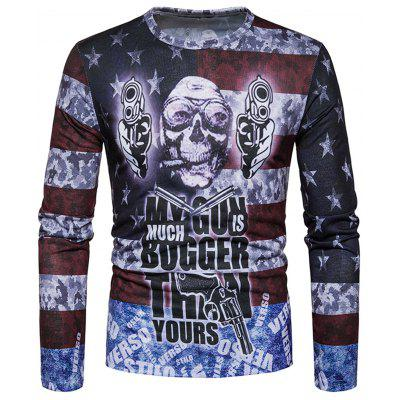Distressed American Flag Skull Print Long Sleeve T-shirt