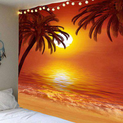 Wall Art Decor Sunset Coconut Trees Printed Waterproof Hanging Tapestry