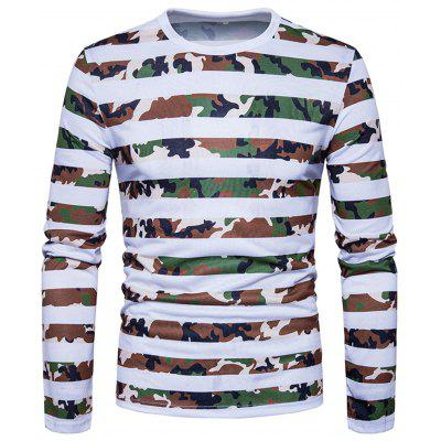 Crew Neck Camouflage Stripe Long Sleeve T-shirt