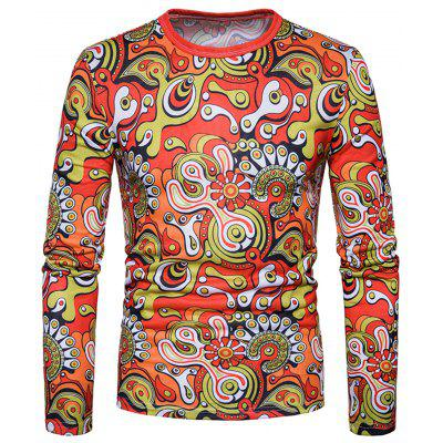 Crew Neck Geometric Florals Long Sleeve T-shirt