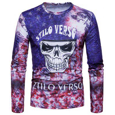 Buy COLORMIX XL Crew Neck Skull Tie Dye Print Long Sleeve T-shirt for $20.85 in GearBest store