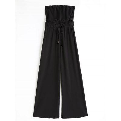 Belted Wide Leg Strapless Jumpsuit