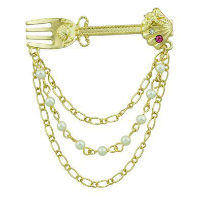 Faux Pearl Diamond Fork Design Link Brooch