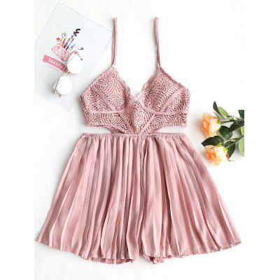Eyelet Cut Out Pleated Romper