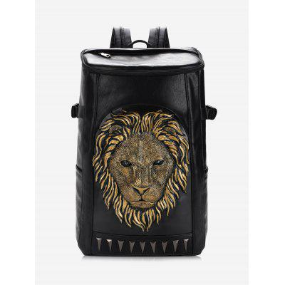 Zipper Lion Head Faux Leather Backpack