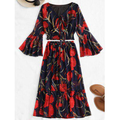 Bell Sleeve Floral Top and Skirt Set