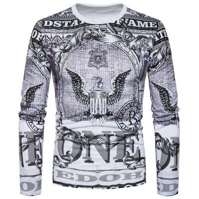 Crew Neck Eagle Graphic Print Long Sleeve T-shirt