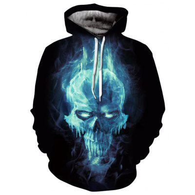 Kangaroo Pocket Magic Skull 3D Hoodie