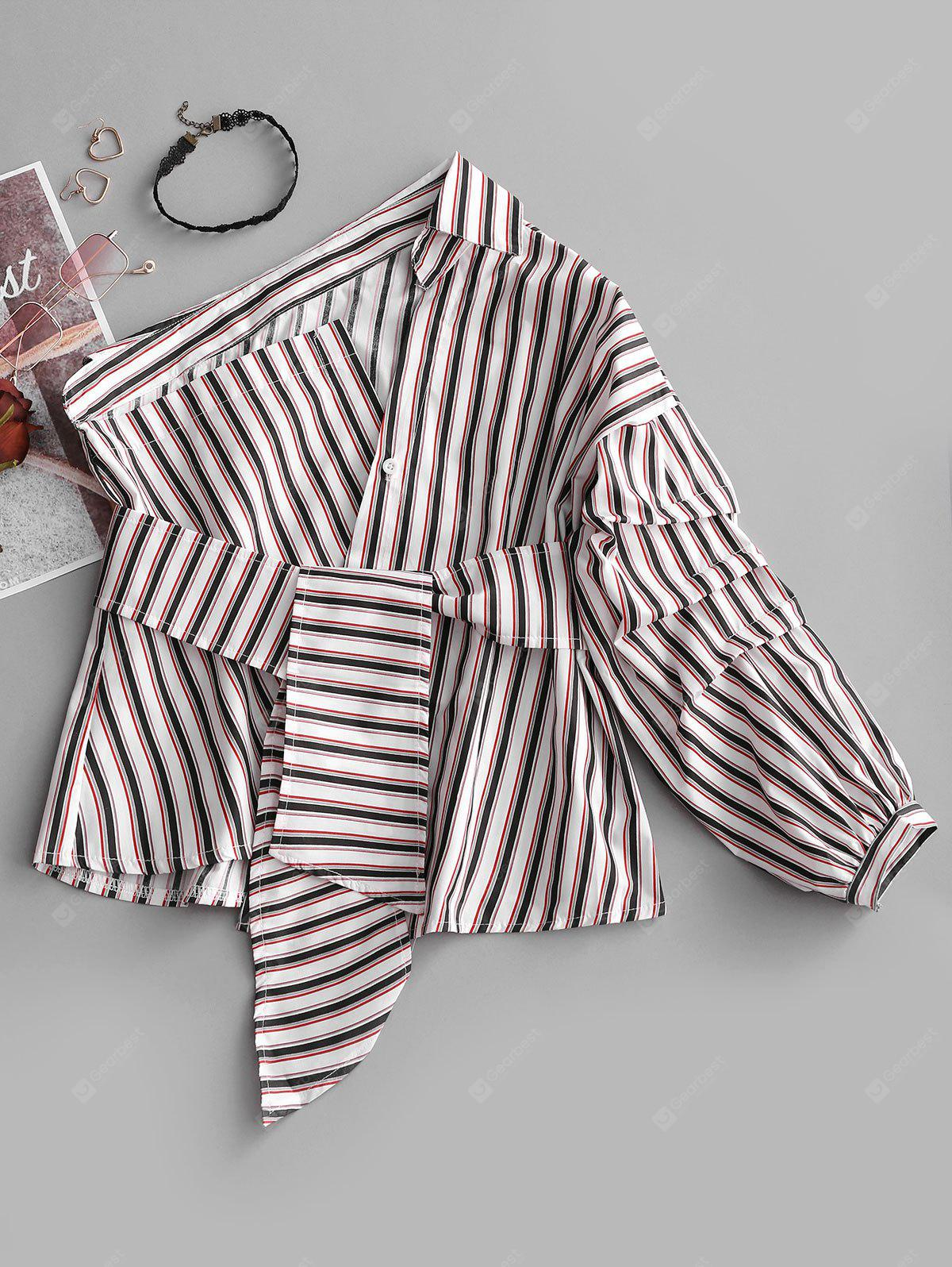 One Shoulder Striped Asymmetrical Belted Blouse