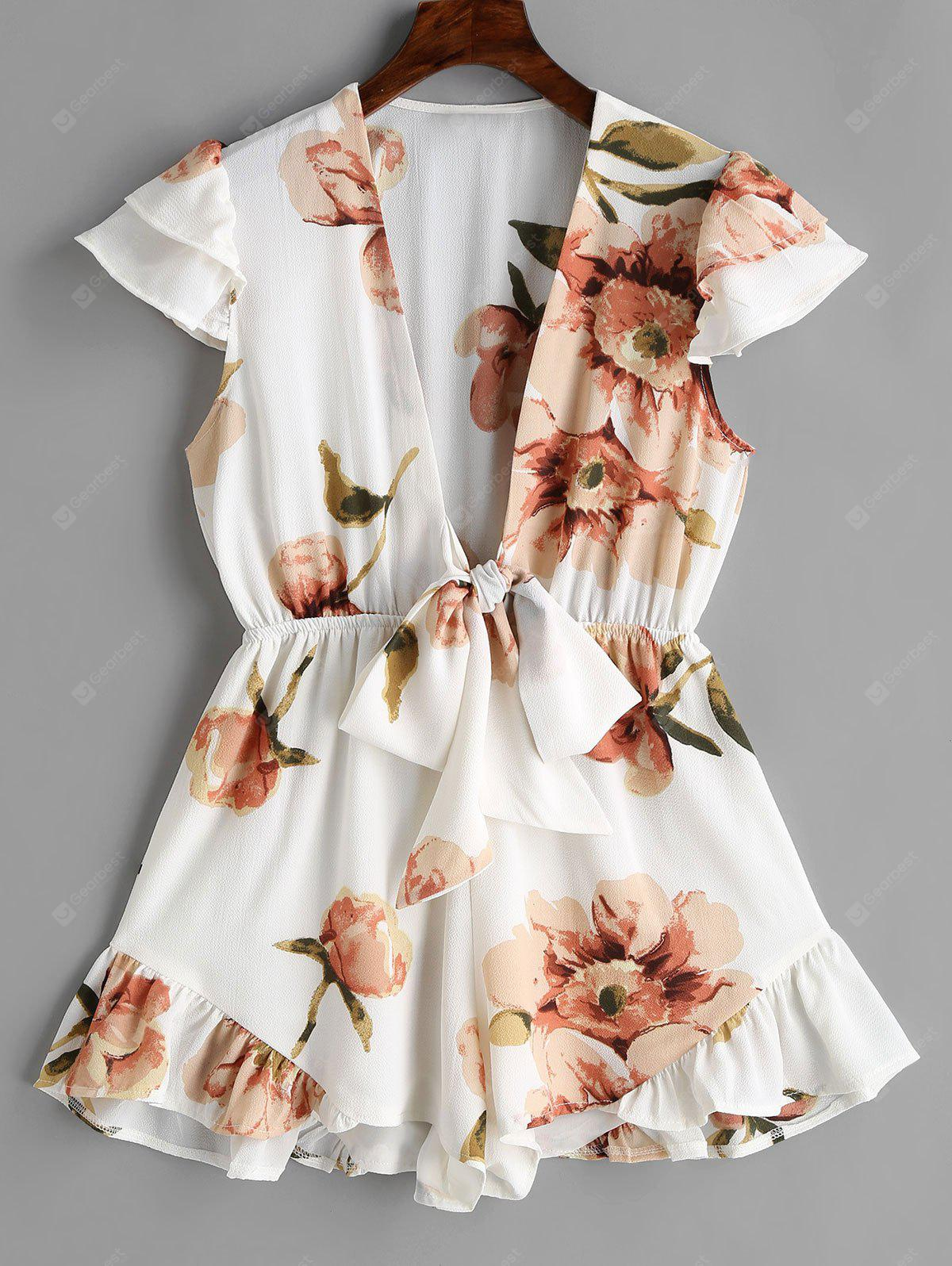 Low Cut Floral Frills Romper