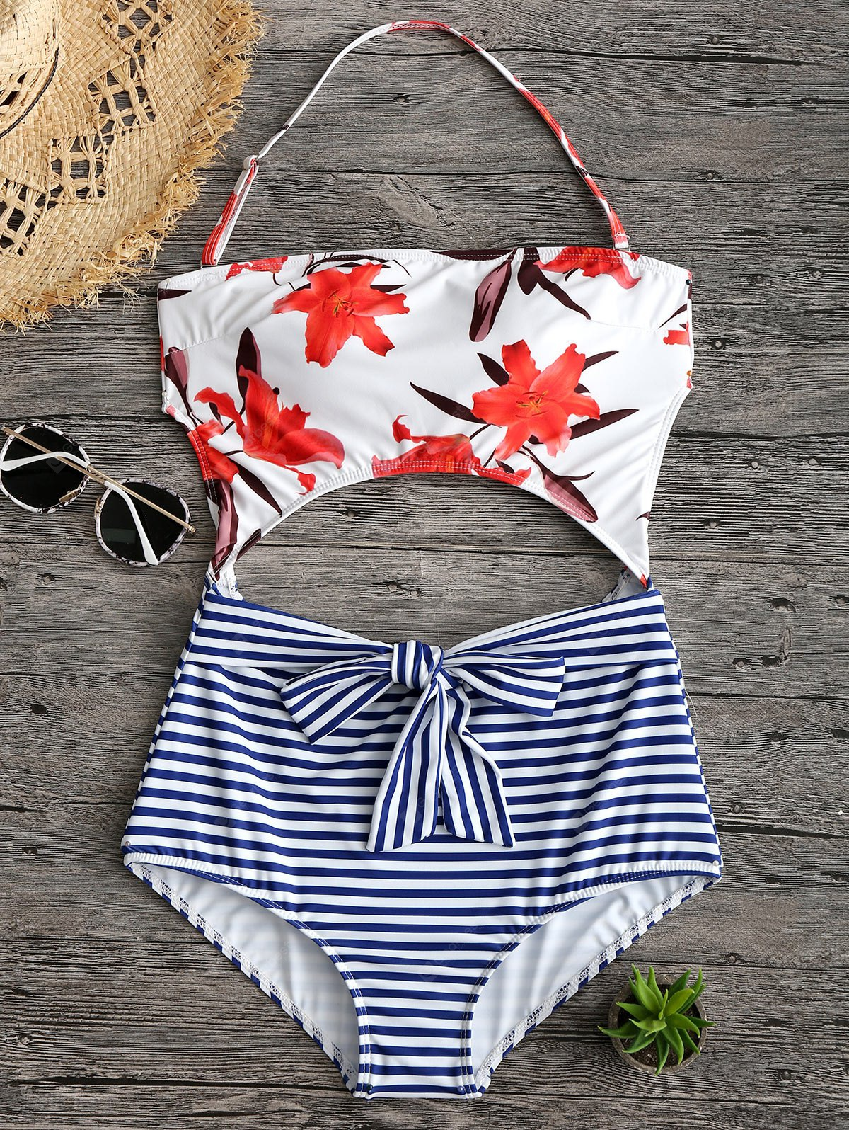 Cut Out Floral Stripe Print Halter Swimwear