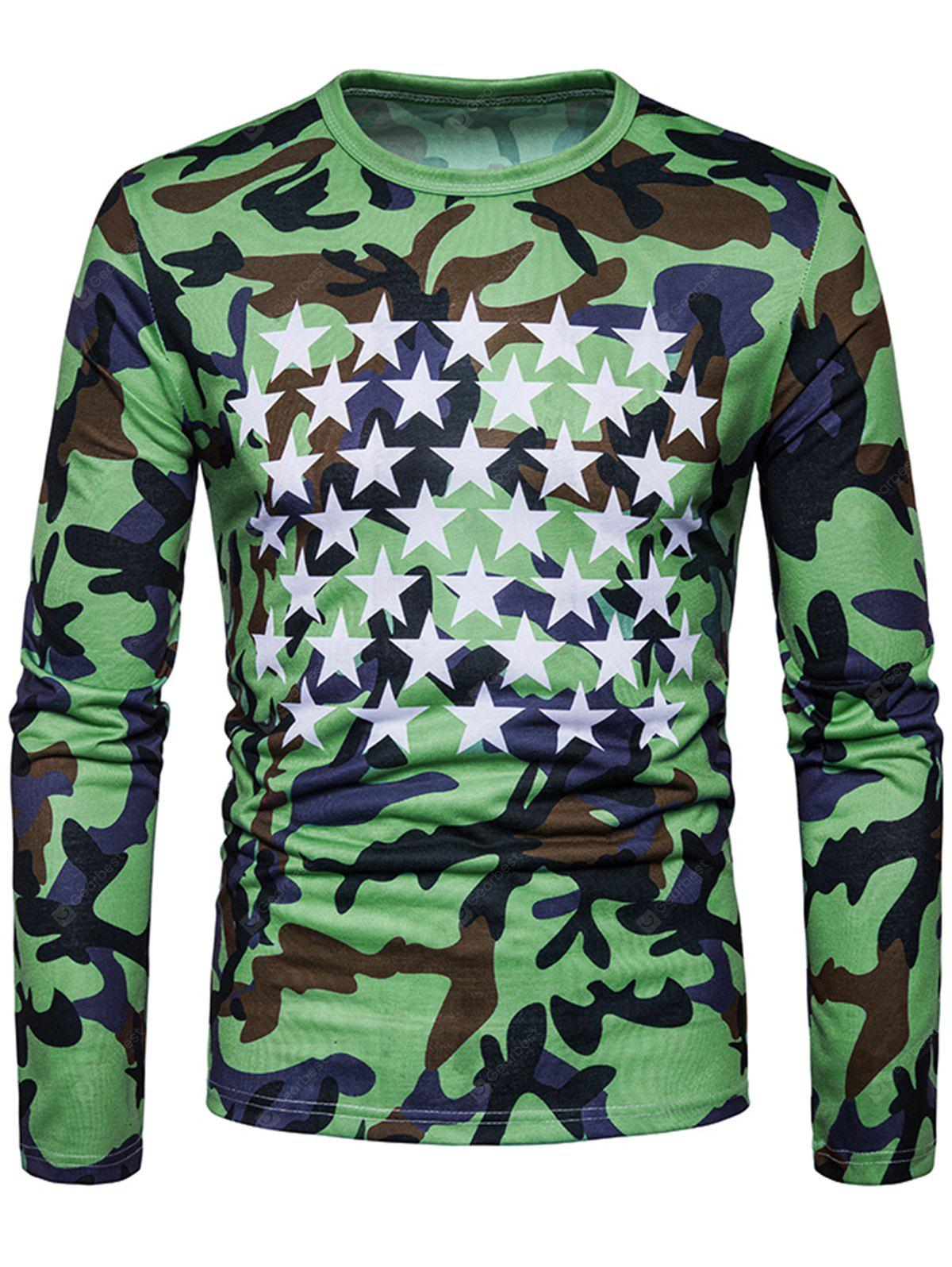 Camouflage and Stars Long Sleeve T-shirt