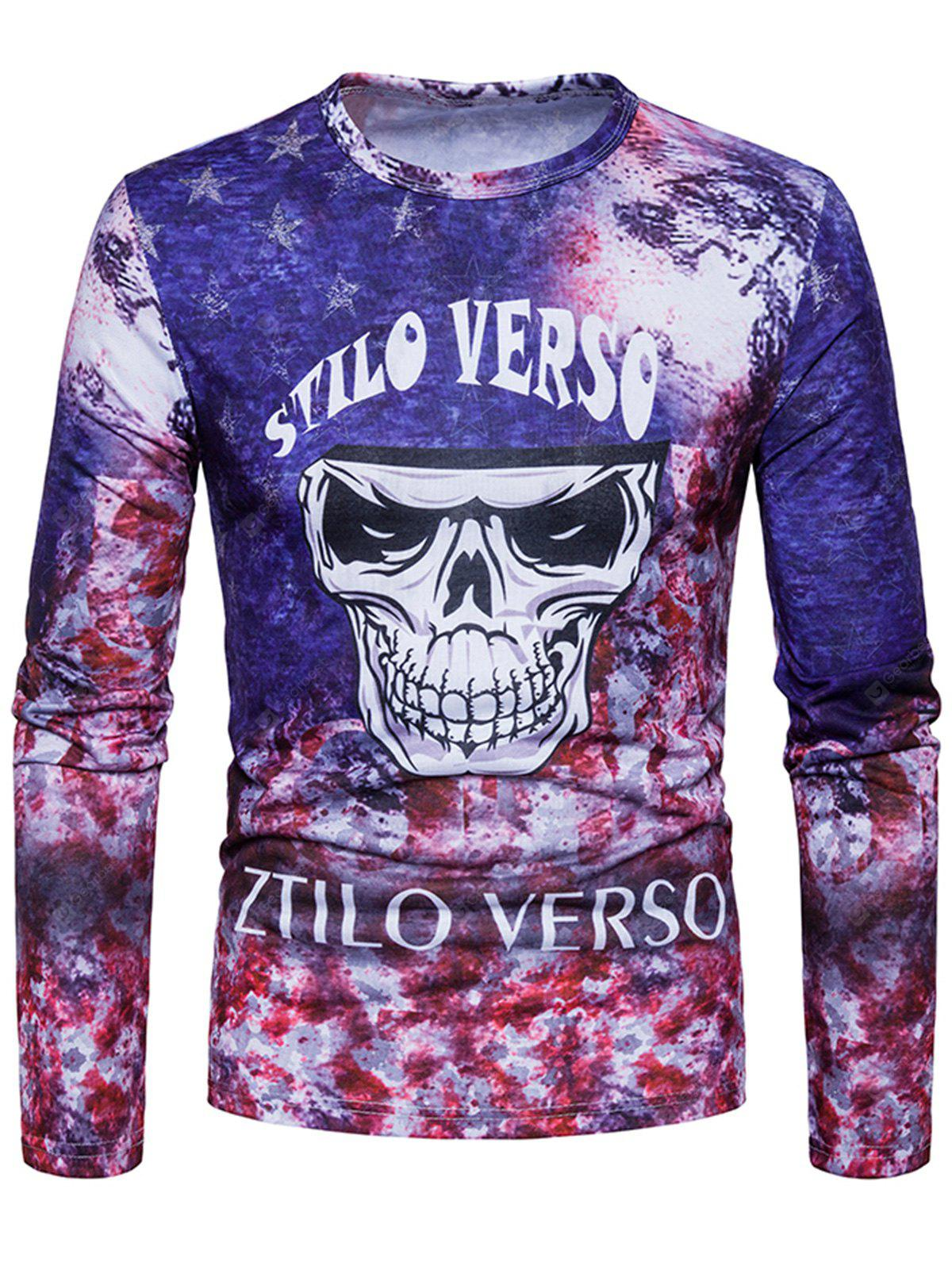 COLORMIX M Crew Neck Skull Tie Dye Print Long Sleeve T-shirt