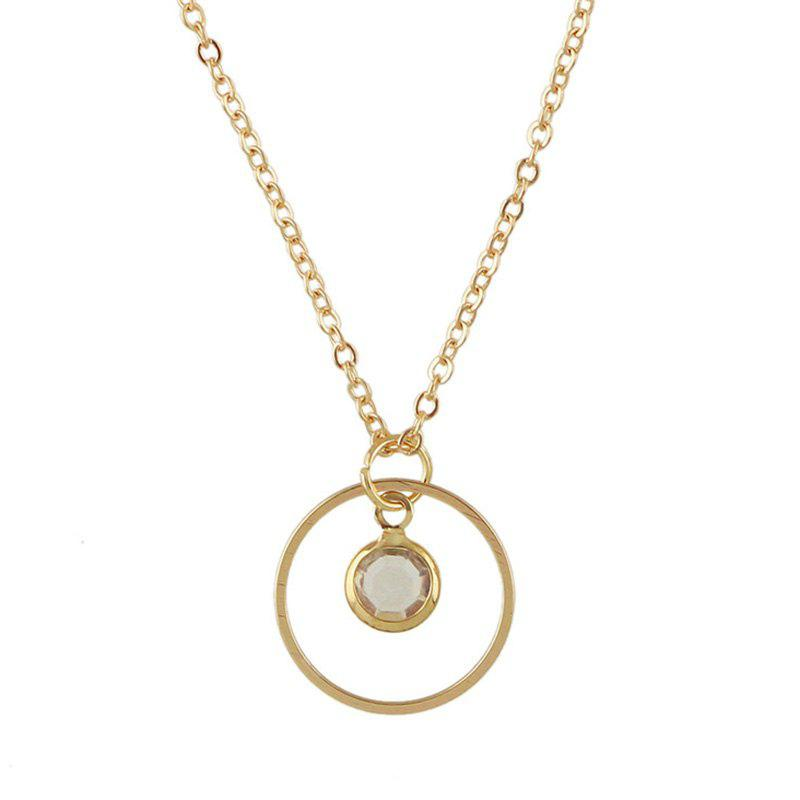 Metal Faux Crystal Circle Hollow Out Pendant Necklace