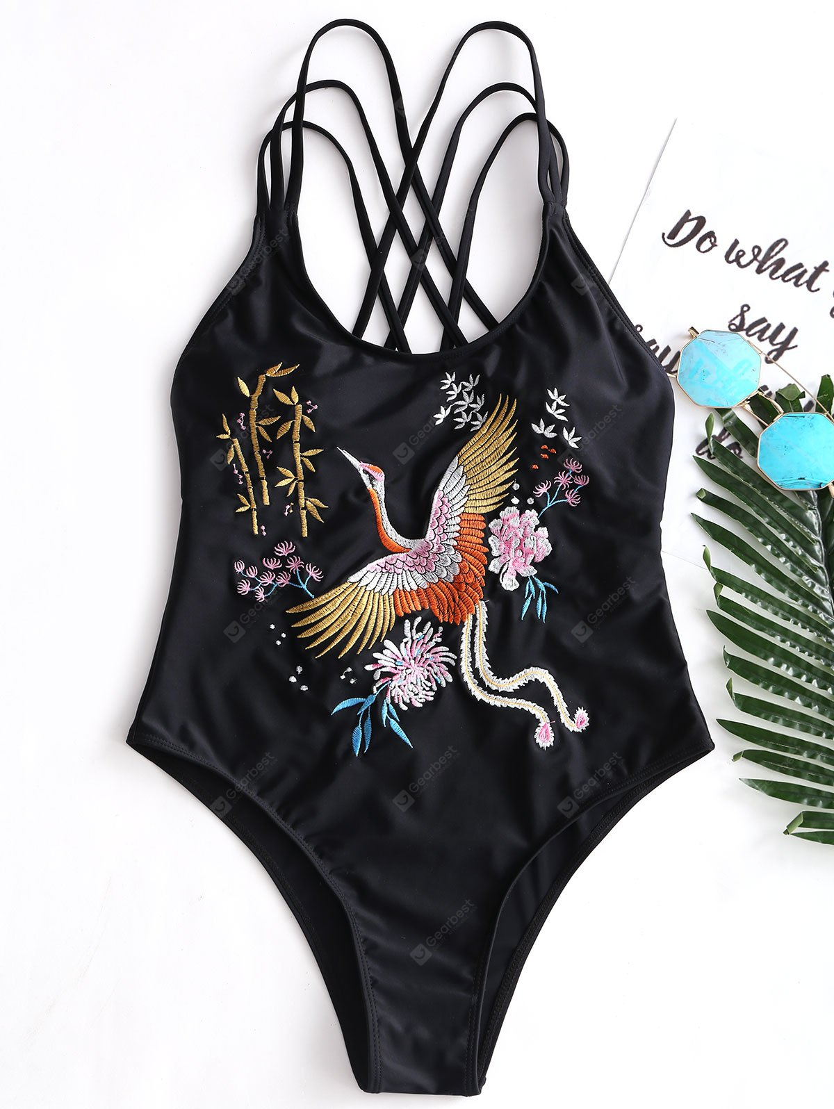 Embroidered Crisscross Strappy Swimsuit