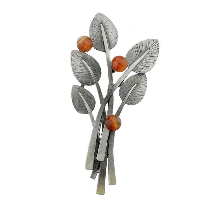 Elliptical Leaves and Beaded Decor Brooch Pin