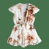 Low Cut Floral Frills Romper - WHITE