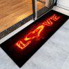 Valentine's Day Burning Love Pattern Indoor Outdoor Area Rug - BLACK