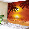 Wall Art Decor Sunset Coconut Trees Impresso Impermeável Hanging Tapestry - COLORIDO