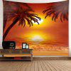 Wall Art Decor Sunset Coconut Trees Printed Waterproof Hanging Tapestry - COLORFUL