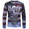 Distressed American Flag Skull Print Long Sleeve T-shirt - COLORMIX