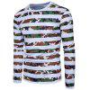 Crew Neck Camouflage Stripe Long Sleeve T-shirt - COLORMIX