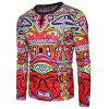 Abstract Cartoon Print Long Sleeve T-shirt - RED