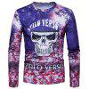 Crew Neck Skull Tie Dye Print Long Sleeve T-shirt - COLORMIX