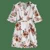 Floral Ruffles Wrap Mini Dress - WHITE