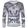Crew Neck Eagle Graphic Print Long Sleeve T-shirt - COLORMIX