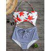 Cut Out Floral Stripe Print Halter Swimwear - COLORMIX