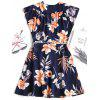 Wrap Floral Low Cut Mini Dress - DEEP BLUE